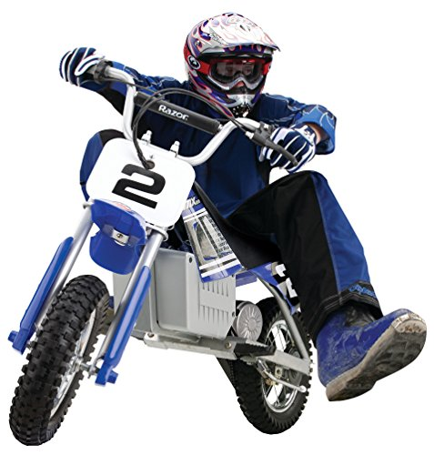 Boy riding Razor MX350 dirt rocket bike