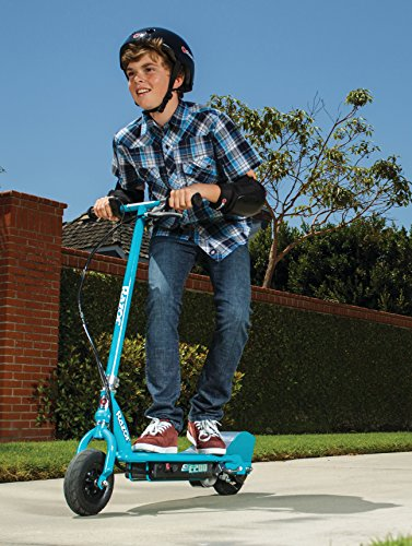 Boy riding E200 electric scooter by razor