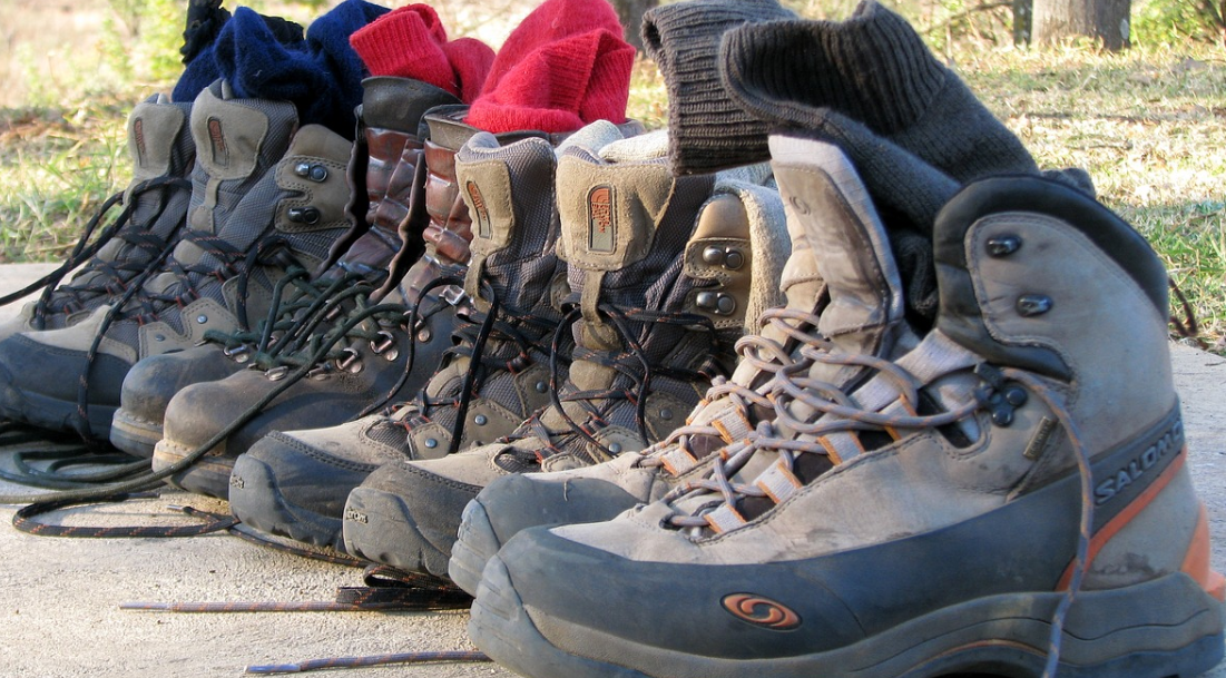 A pile of hiking boots
