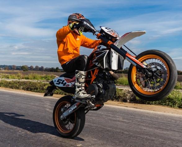 Wheelie motorcycle trick